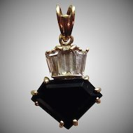 1980's Vintage 14K Gold & Faceted Onyx & Clear Stone Pendant