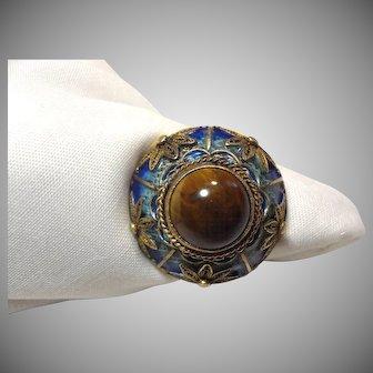 Wonderful Chinese Export Gilded Silver, Enamel & Tiger Eye Ring