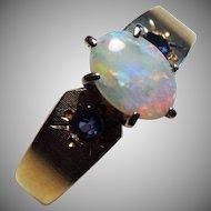 Gorgeous 14K Yellow Gold, Australian Opal & Natural Sapphire Ring