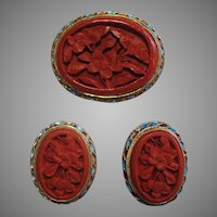 Chinese Export Sterling Enamel & Carved Cinnabar Pin Set