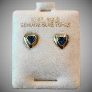 Sweet 14k Gold & Genuine Blue Topaz Pierced Heart Earrings