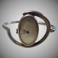Amazing Mid-Century French Silver Manual Wind Wristwatch - Works