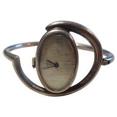 Amazing Mid-Century French Silver Manual Wind Wristwatch - Works