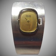 Amazing Mid-Centurd Gruen Manual Wind Sterling Silver Cuff Watch - Works