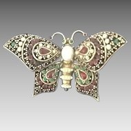 VIntage Pauline Rader Trembler Butterfly Pin Embossed with Jewels