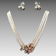 VIntage Robert Demi Parure:  Faux Pearl Choker Necklace with Ornate Centerpiece and Earrings***Perfect for the Bride
