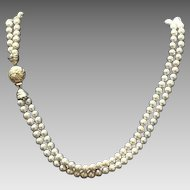 VIntage Ciner Double Strand Faux Pearl Choker Necklace