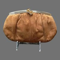 VIntage Leiber Suede Purse with Snakeskin Accents and Jeweled CLasp