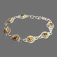 Vintage Sterling Silver Bracelet with Tiger Eye Stones
