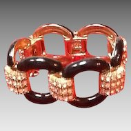 Ciner Vintage Bracelet with Enameling and Ice Rhinestones *** New Old Stock***
