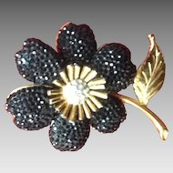 Vintage Leiber Flower Brooch with Swarovski Crystals