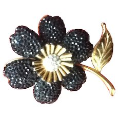 Vintage Leiber Flower Brooch with Swarovski Crystals