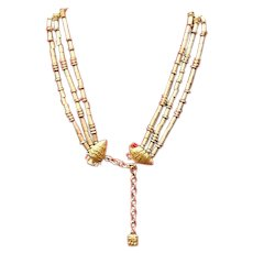 Vintage Lagerfeld Triple Strand Necklace wit Grecian Urn Accents