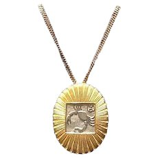 """Vintage Leiber Zodiac """"Cancer"""" Brooch and Necklace"""