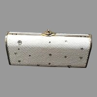 Vintage Judith Leiber White Crystal Minaudiere with Clear Crystal Embellishments ***Perfect for the Bride