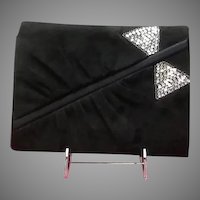 "Vintage Valentino Garavani Suede ""Night"" Evening Bag with Sequins"