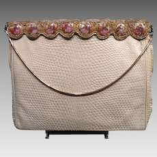 VIntage Delill Leather Purse with Fragonard Plaques and Beading ***Complements the Wedding Dress