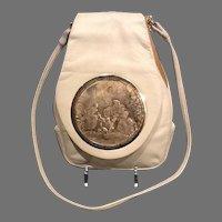"""Vintage Rosenfeld """"Lancret Plaisirs"""" Signed Brass Engraved Plaque Shoulder Bag"""