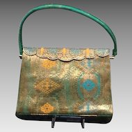 VIntage Silk Evening Purse with Embroidery and Metallic Thread