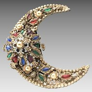 "VIntage ""Korda Thief of Bagdad"" Crescent Moon Brooch with Jewels"