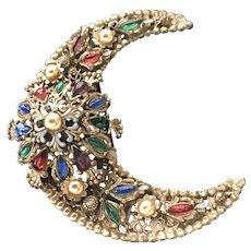 "VIntage ""Korda Thief of Bagdad"" Crescent Moon Brooch with Jewels"