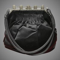 "Vintage ""Deco"" Silk Purse with Marcasite Frame"