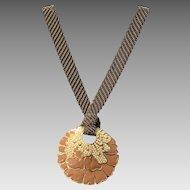 Vintage Lanvin Enameled Floral Statement Necklace