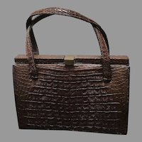 Vintage Lucille de Paris Porosus Crocodile Kelly Handbag
