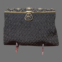 Vintage French Navy Blue Beaded Purse with Enameling  ***Near MInt***