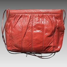 Huge Vintage Leiber Red Python Handbag