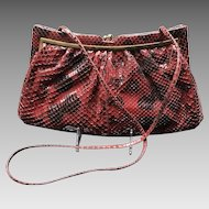 "Vintage Leiber Large Burgundy Python Handbag with ""Dots"""