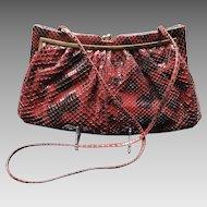 "Vintage Leiber Large Burgundy Python Handbag with ""Dots"""