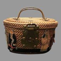 Vintage Asian Tea/Sewing Basket with Figures