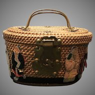 Vintage Asian Tea/Sewing Basket with Figures