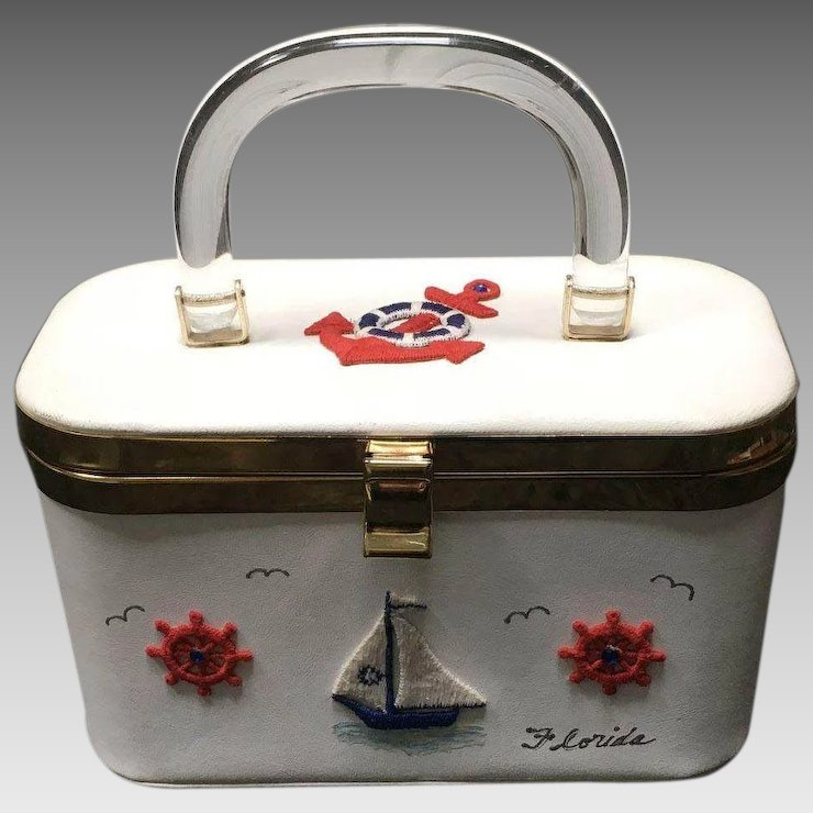 Vintage Nautical Handbag With Lucite Liques And Stones