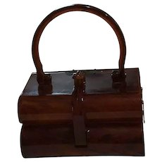 "Vintage Elsa Two Tier ""Faux"" Tortoise Shell Handbag"