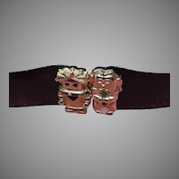 Vintage Leiber Rare Snakeskin Belt with Unusual Figural Clasp