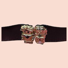 Vintage Leiber Rare Snakeskin Belt with Unusual Figural Clasp