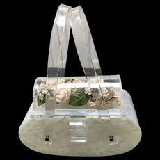 "Vintage Lucite ""Coffin"" Handbag with Flowers"