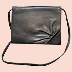 Vintage Valentino Messenger Style Navy Blue Bag with Enameling