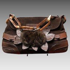 Vintage Valentino Garavani Suede Handbag with Mink Accent