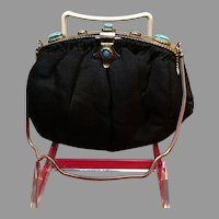 Vintage Petite Egyptian Revival Purse with Faux Turquoise Scarabs
