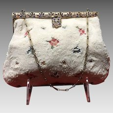 Vintage French Beaded Purse with Tambour Embroidery and Enameled Frame