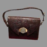 Vintage La Jeunesse Lizard Handbag with Interesting Ornamentation and Python Lining