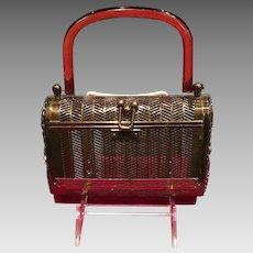 124149bb73bb Rare 1950s Dorset Rex LEATHER and Lucite Box Purse Handbag SOLD ...