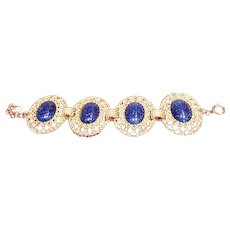 Vintage Grosse Filigree Gold Tone Bracelet with Huge Lapiz Lazuli Embellishments