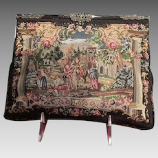 Vintage Petit Point Medieval Scene Purse with Enameled and Jeweled Frame