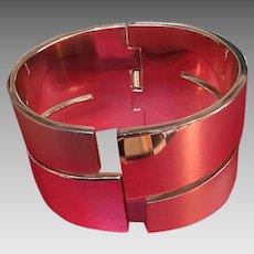 Vintage Lanvin Rose Gold/Copper Hinged Cuff Bracelet