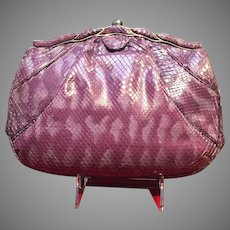 "Vintage Judith Leiber ""Amethyst"" Python Handbag"
