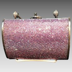 Vintage Leiber Pink Aurora Borealis Swarovski Encrusted Minaudiere